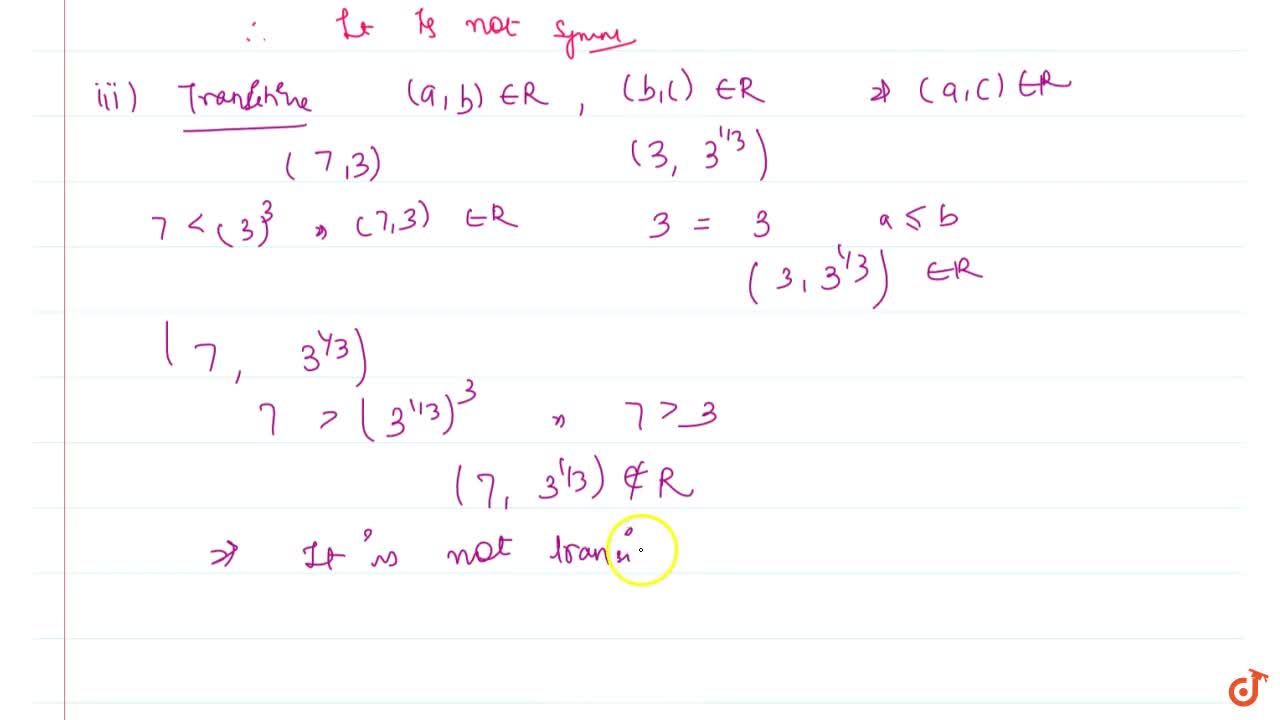 Solution for Check whether the relation R on R defined by