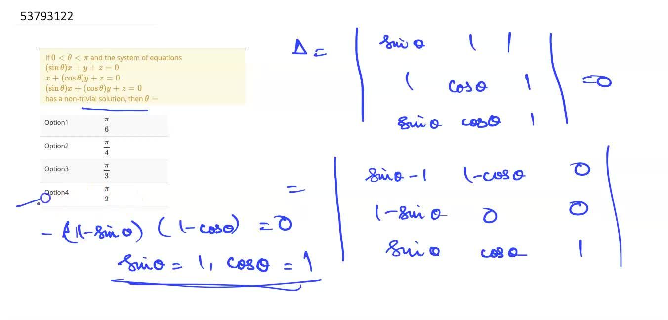 Solution for If 0 lt theta lt pi and the system of equations