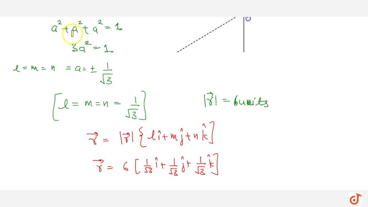Solution for The vector  vec r is inclined at equal acute ang