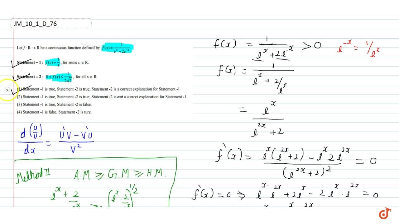 Solution for Let f: R    R be a continuous function defined by