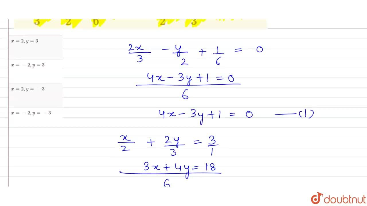 Solution for If   ( 2x ),(3) -  ( y  ),(2)  +  (1),(6)= 0 and