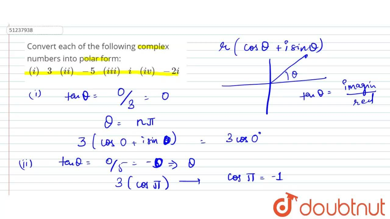 Solution for Convert each of the following complex numbers into