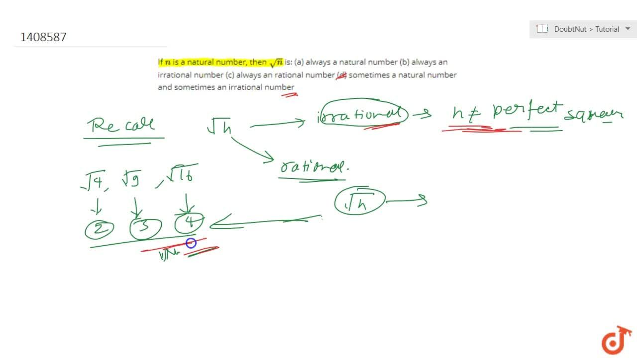 Solution for If n is a natural number, then sqrt(n) is: (a)