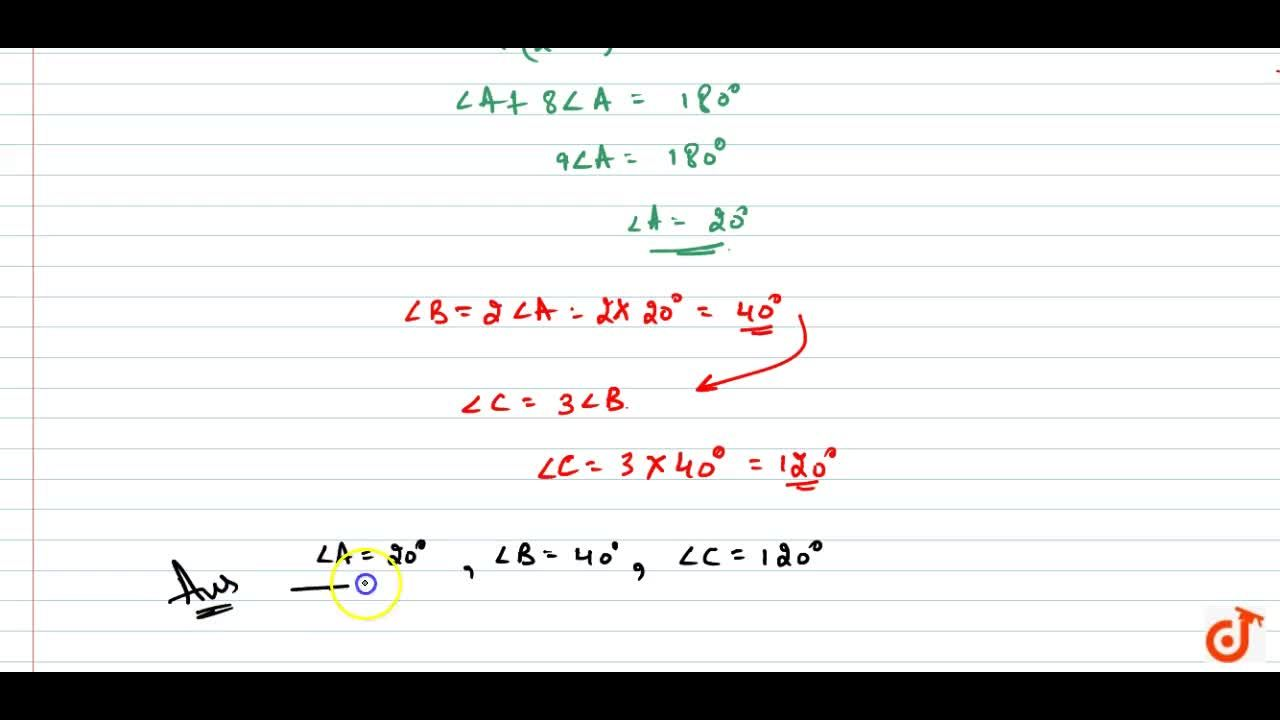 Solution for In a Delta  A B C , ,_C=3\ \ ,_B=2(,_A+,_B) .