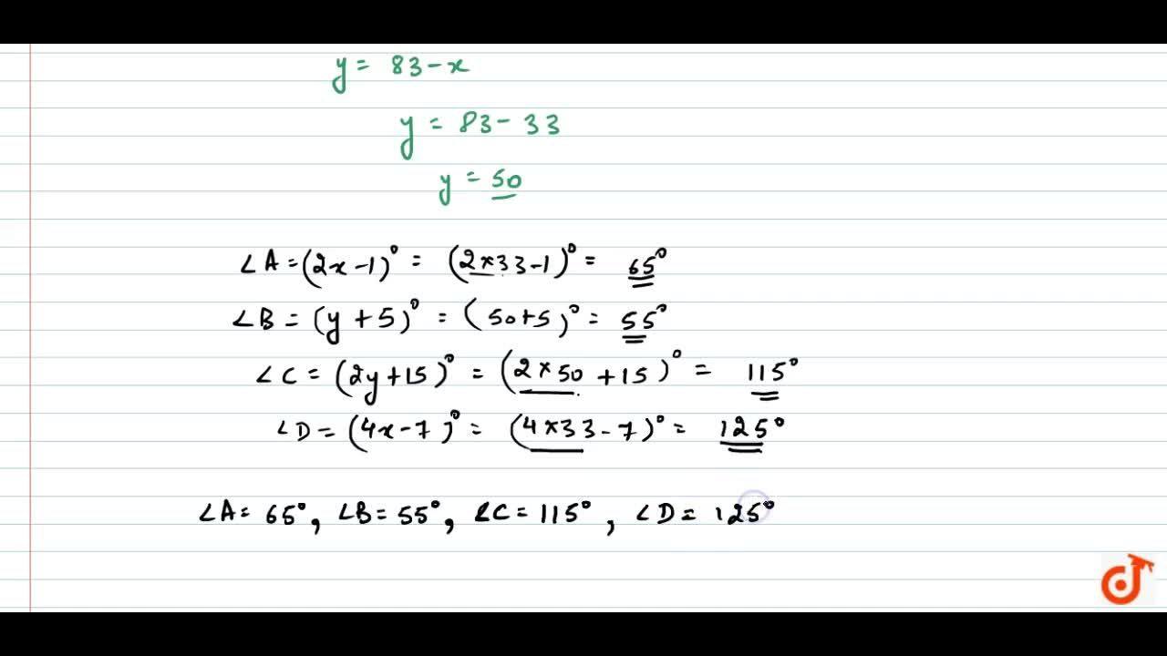 Solution for Find the four angles of   a cyclic quadrilateral