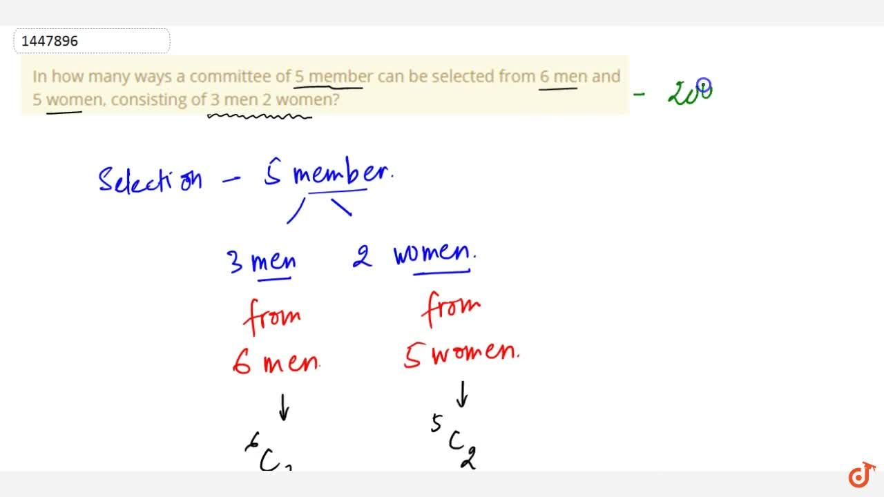 In how many ways a committee of 5 member can be selected from 6 men and   5 women, consisting of 3 men 2 women?