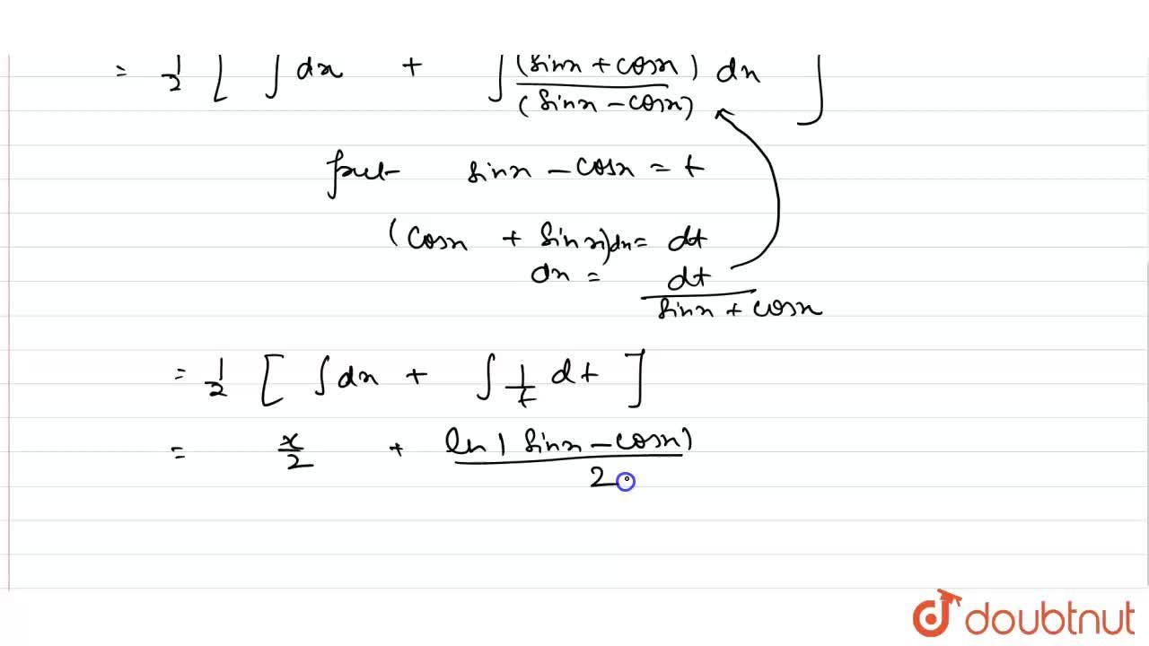 Solution for int(sinx),((sinx-cosx))dx=?