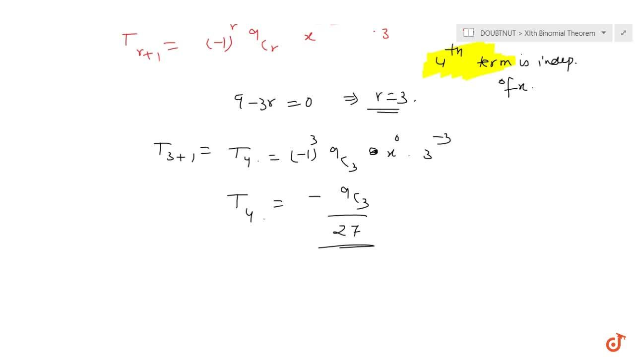 Which term is independent of x  in the expansion of (x-1,(3x^2))^9?