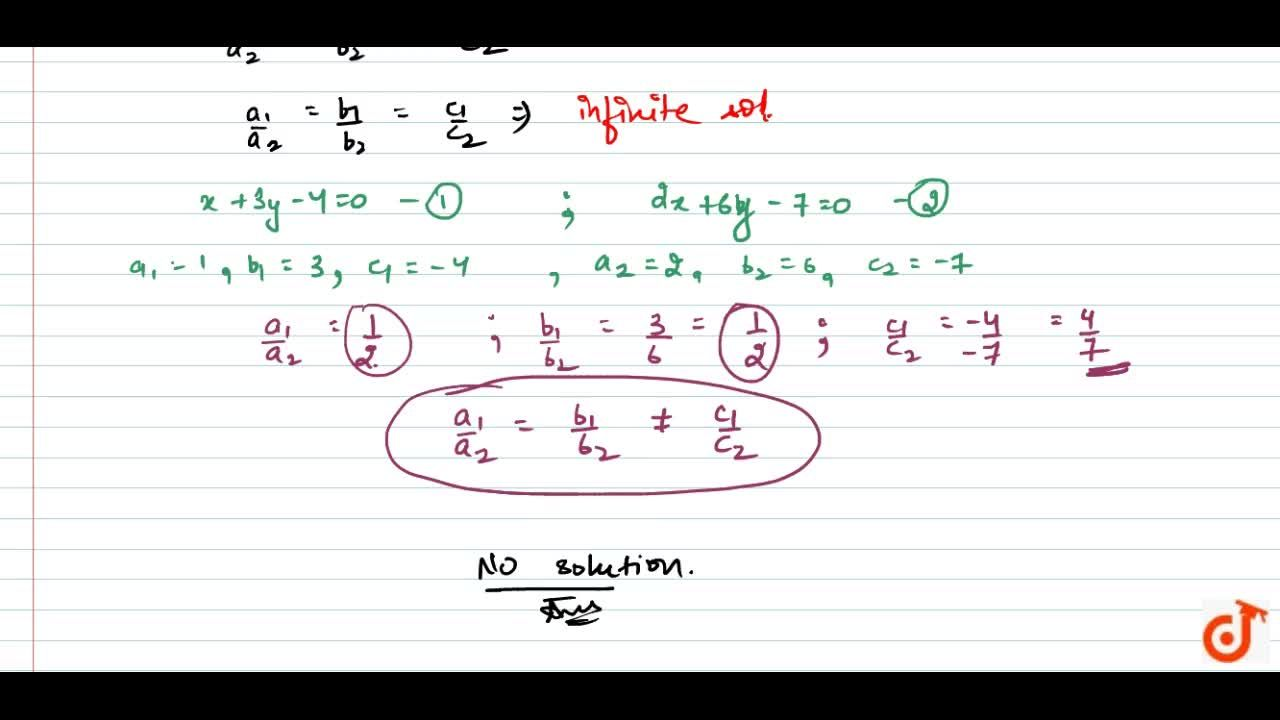 Write the number of   solutions of the following pair of linear equations: x+3y-4=0,\ \ \ \ 2x+6y=7