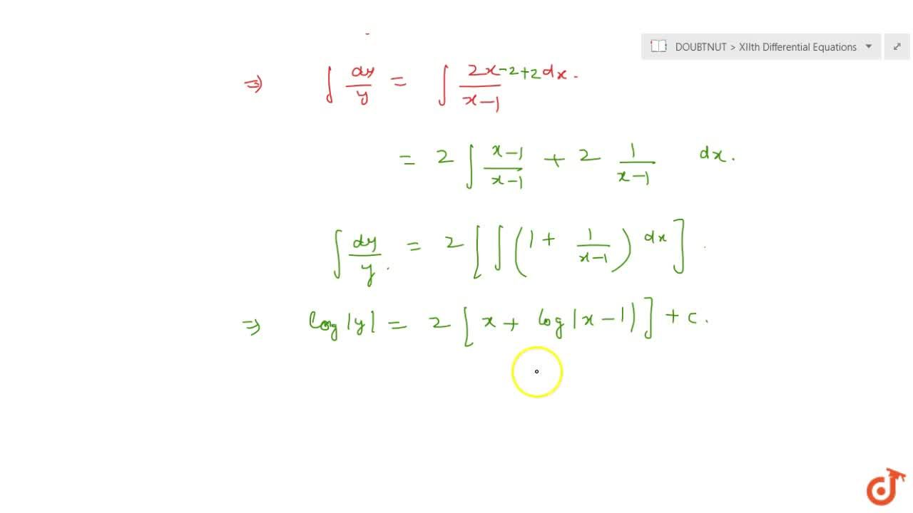 Solution for Solve the following differential equation: (x-1)(