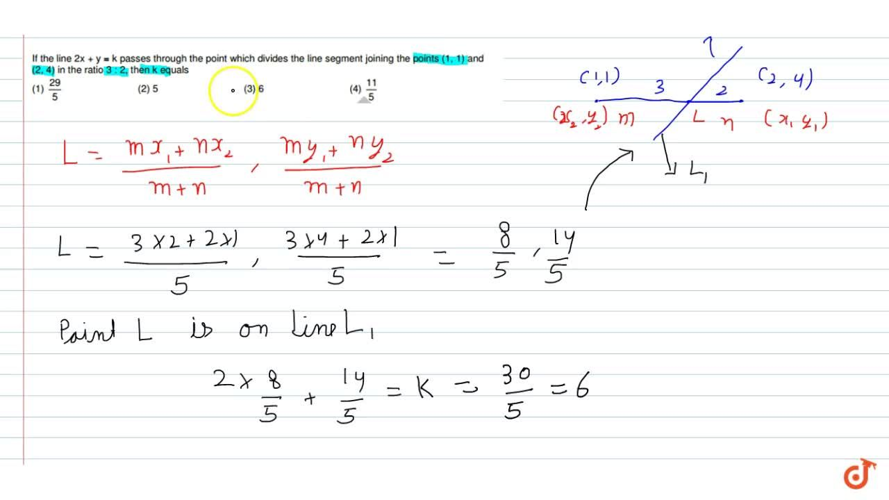 """Solution for If the line 2x""""""""+""""""""y""""""""=""""""""k passes through the po"""