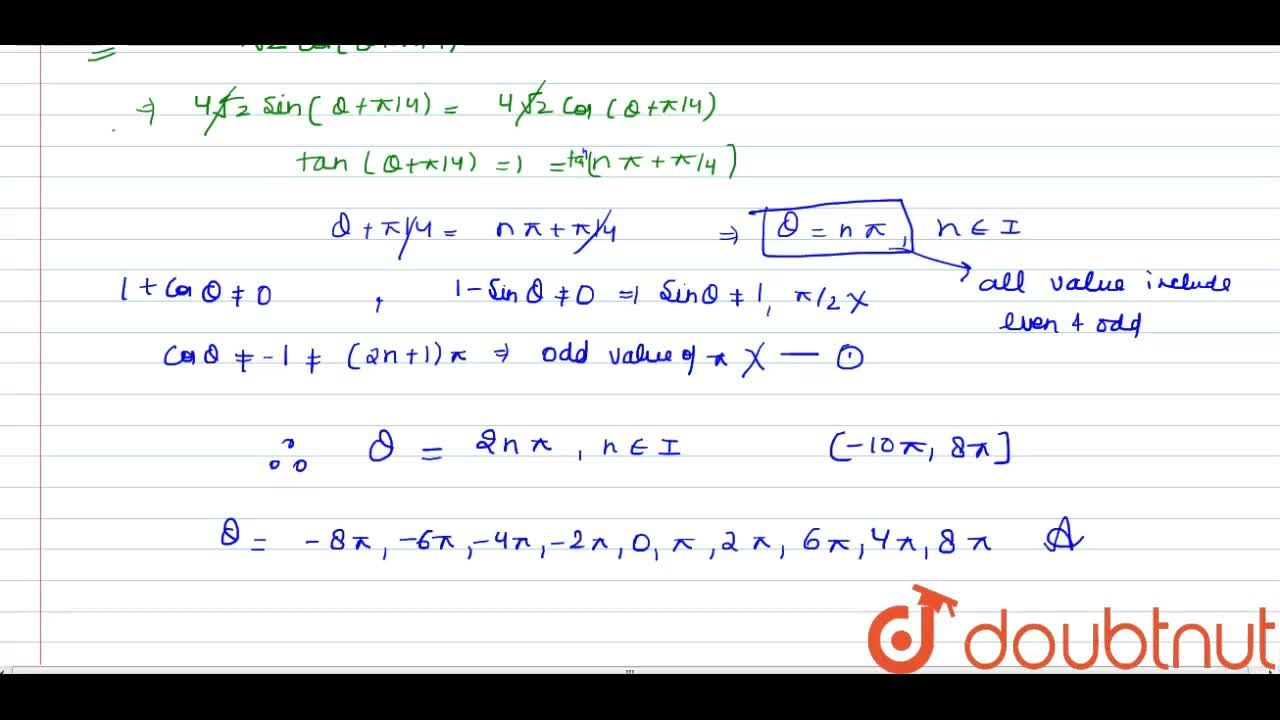 Find the number of solution of the equation (2sintheta-sin3theta),(1+costheta)+(3costheta+cos3theta),(1-sintheta)=4sqrt(2)cos(theta+(pi),(4)) <br> in the interval (-10pi,8pi].