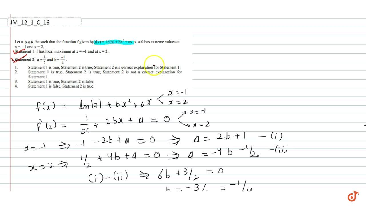 Solution for Let a, b  R be such that the function f given by
