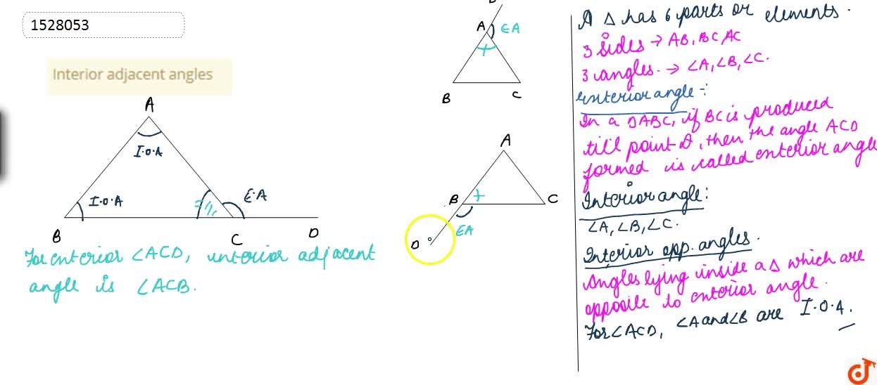 Solution for Interior adjacent angles