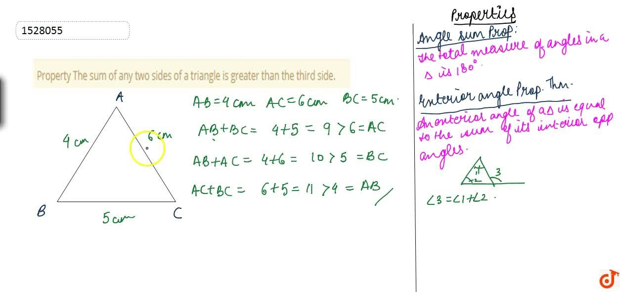 Solution for Property The sum of any two sides of a triangle is