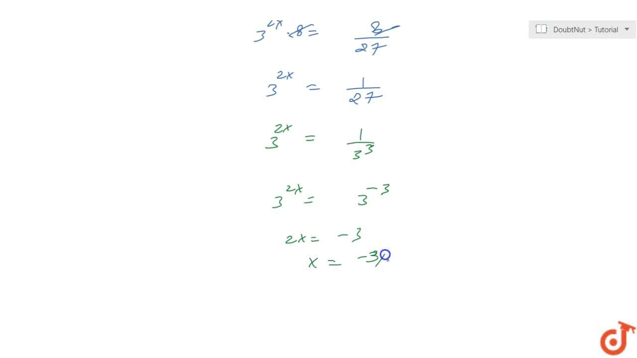 Solution for Solve the equation for x :  2^3(5^0+3^(2x))=\ 8