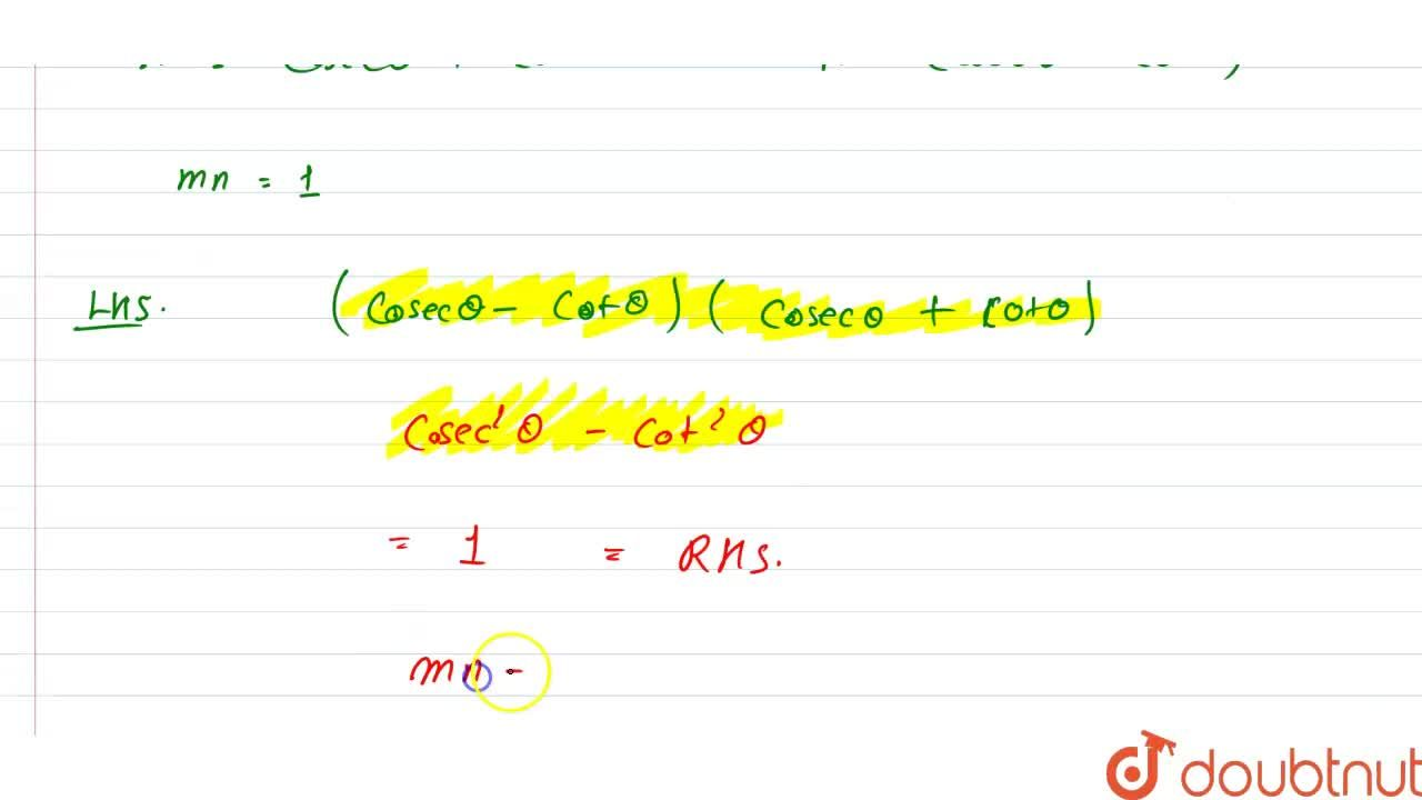 """Solution for If (""""cosec"""" theta +cot theta )=m and (""""cosec""""thet"""