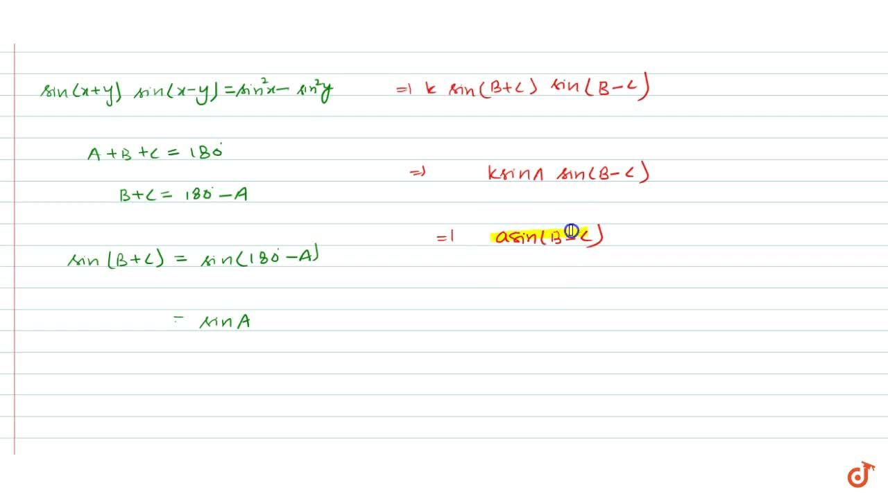 Solution for In any triangle A B C , prove that following: \