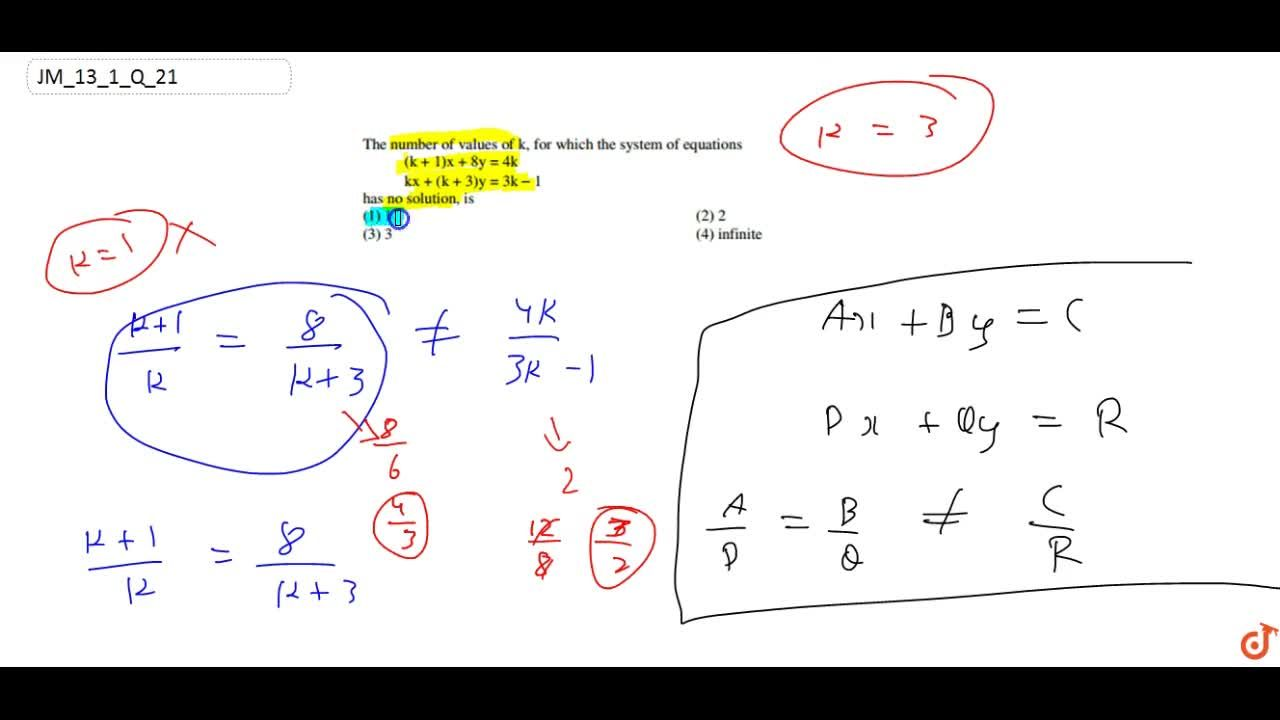 Solution for The number of values of k, for which the system of