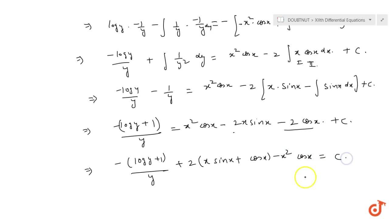 Solve the following differential equation: \ cos e c\ xlogy(dy),(dx)+\ x^2y^2=0