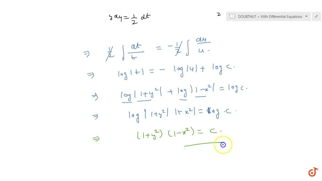 Solution for Solve the following differential equation: \ y(1-