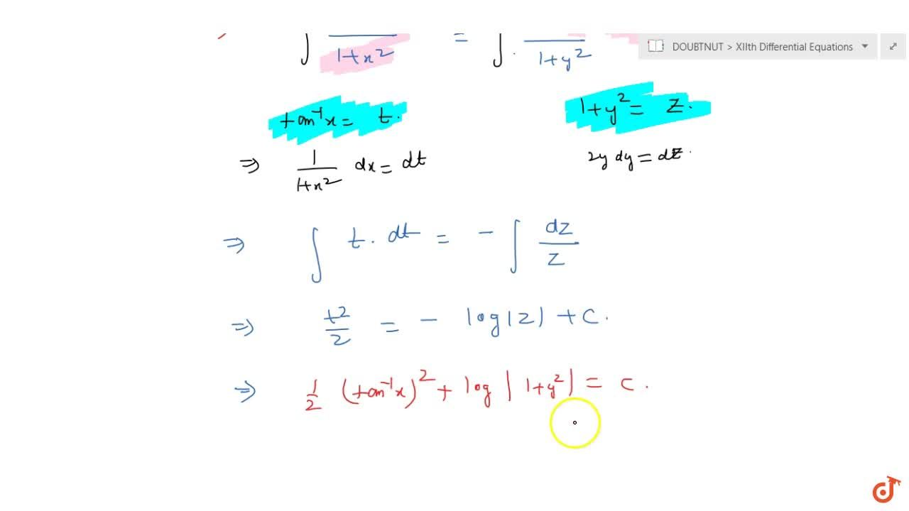 Solve the following differential equation: (1+y^2)tan^(-1)dx+2y(1+x^2)dy=0