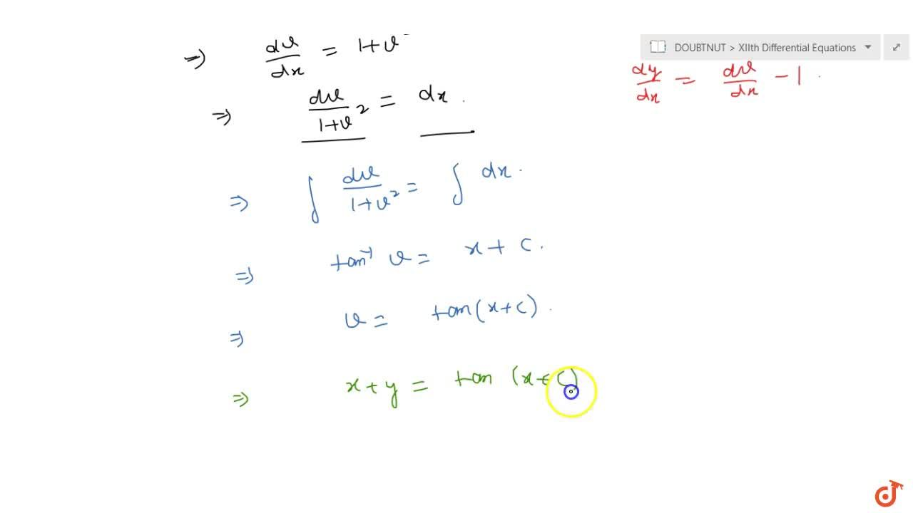 Solve the following differential equation: (dy),(dx)=(x+y)^2