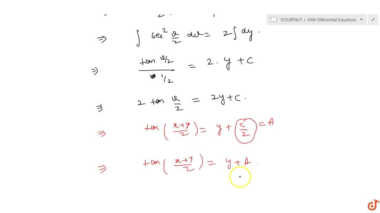 Solve the following differential equation: (dy),(dx)=sec(x+y)