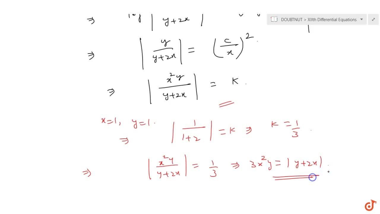 Solve the differential equation x^2dy+y(x+y)dx=0, given that y=1\ w h e n\ x=1.