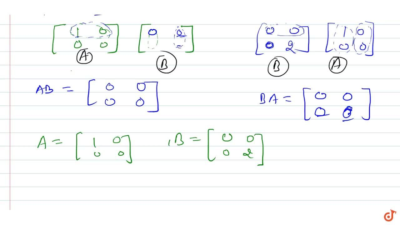 Solution for Give an example of two   matrices A and B suc