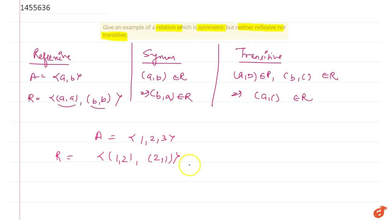 Solution for Give an example of a relation which is symmetric