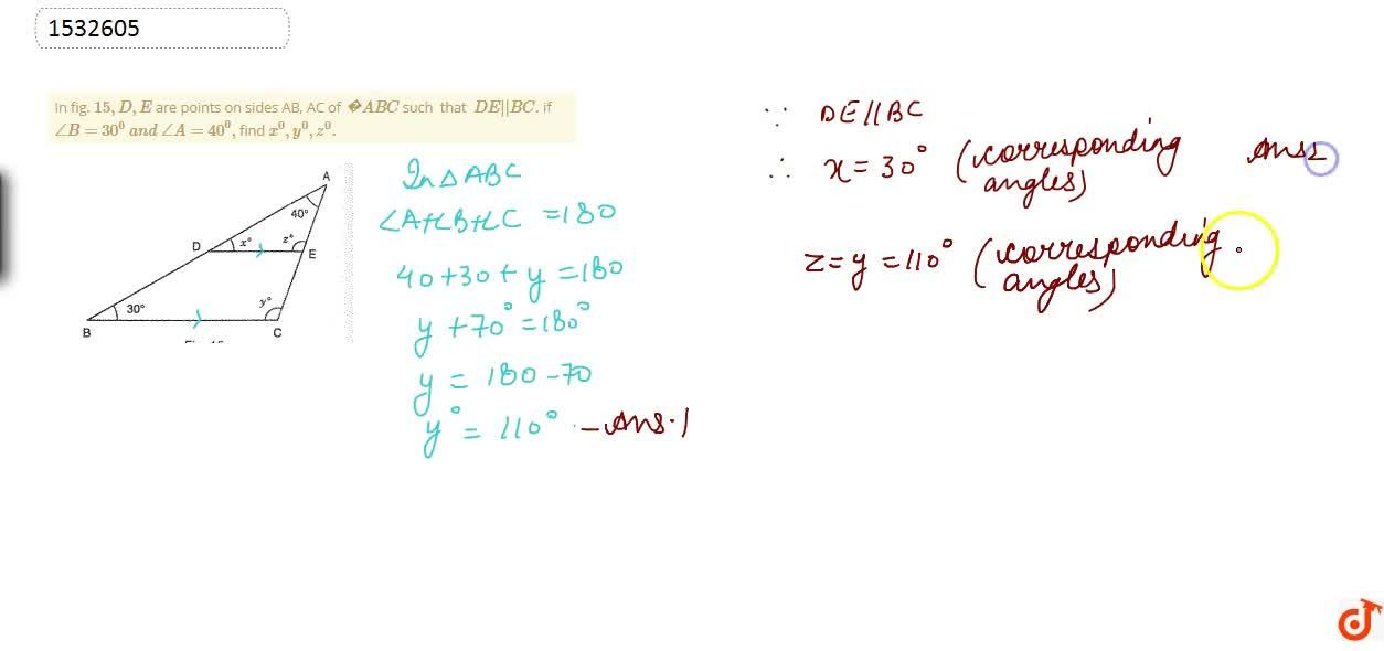 Solution for In fig. 15 , D , E are points on sides AB, AC
