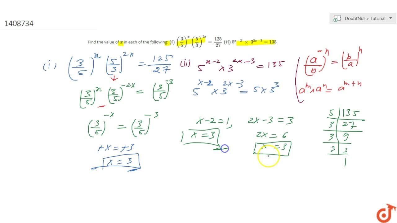 Solution for Find the value of x in each of the following: (