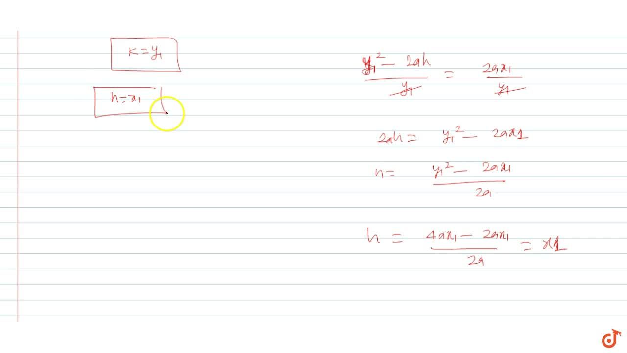 Solution for The tangent at the point P(x_1, y_1) to the para