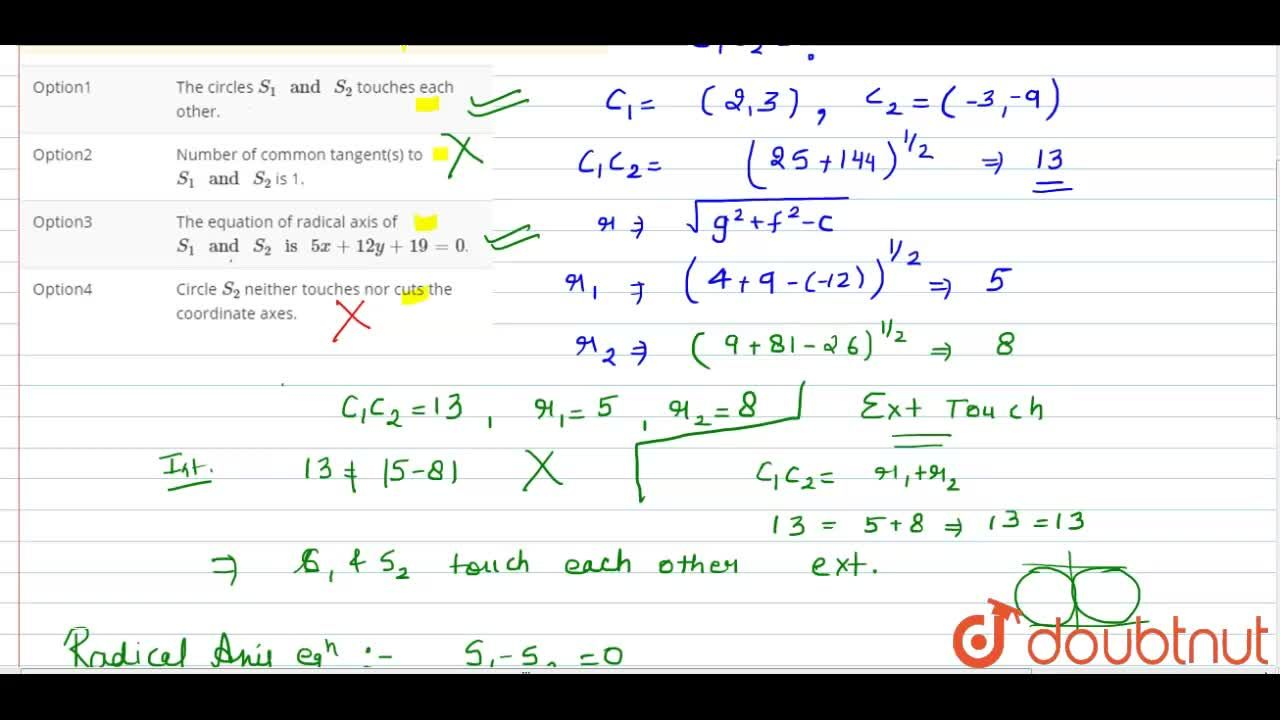 Solution for Consider the circles <br> S_(1):x^(2)+y^(2)-4x-6y