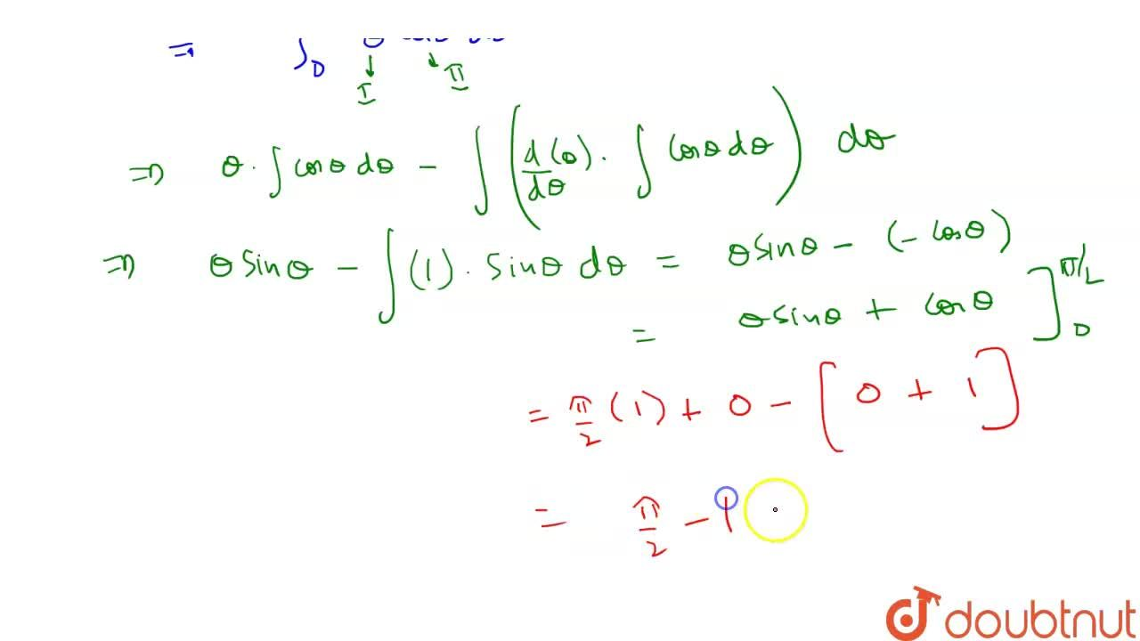 Solution for int _0^(1) sin  ^(-1) x dx  = (pi),(2)  -1