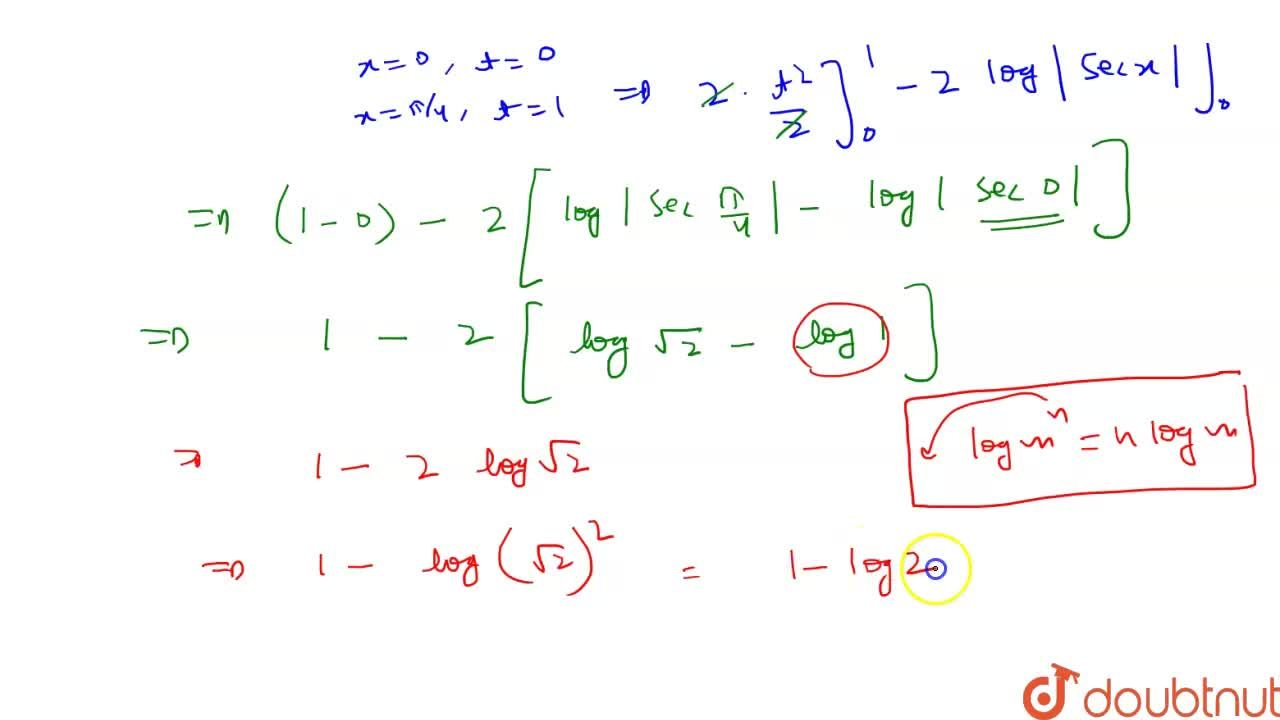 Solution for   int _0^((pi),(4))2 tan ^(3) x dx = 1 - log 2