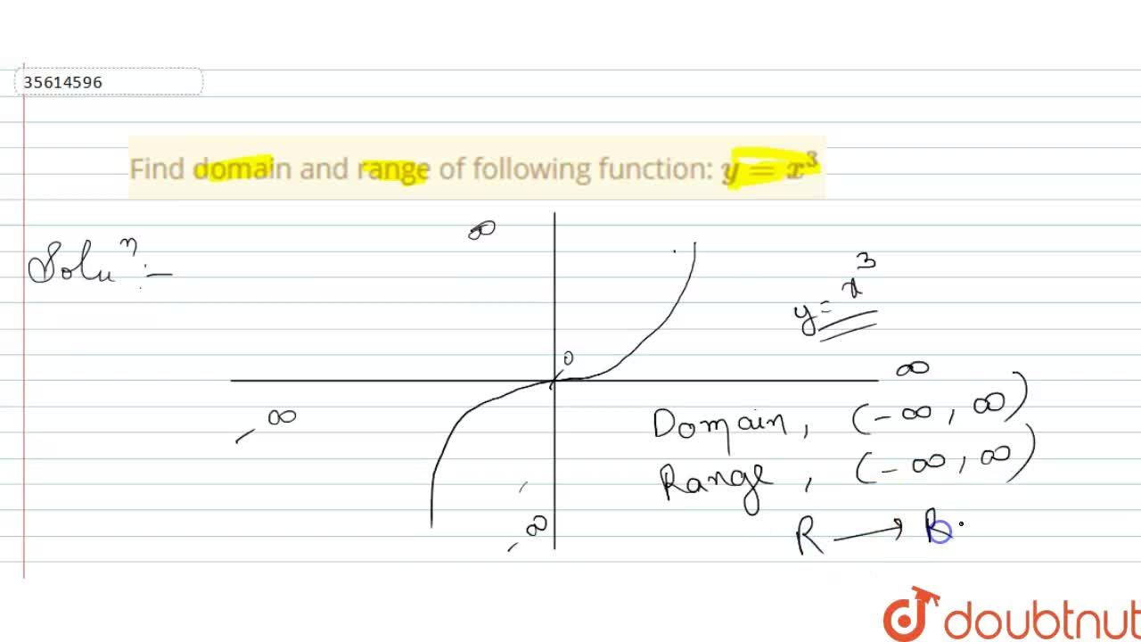 Find domain and range of following function: y=x^(3)