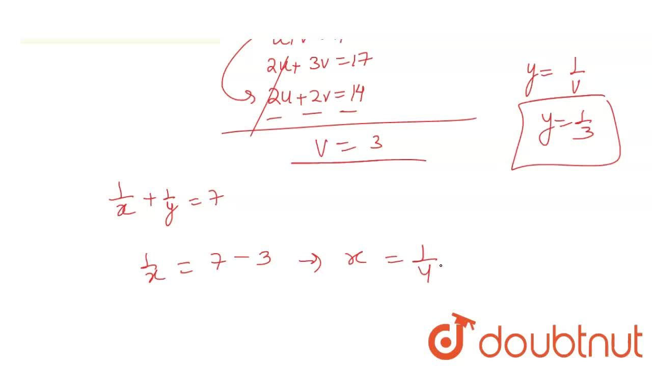 Solution for   ( 1 ) ,(x) +  (1 ) ,( y) = 7,  <br>    ( 2),(