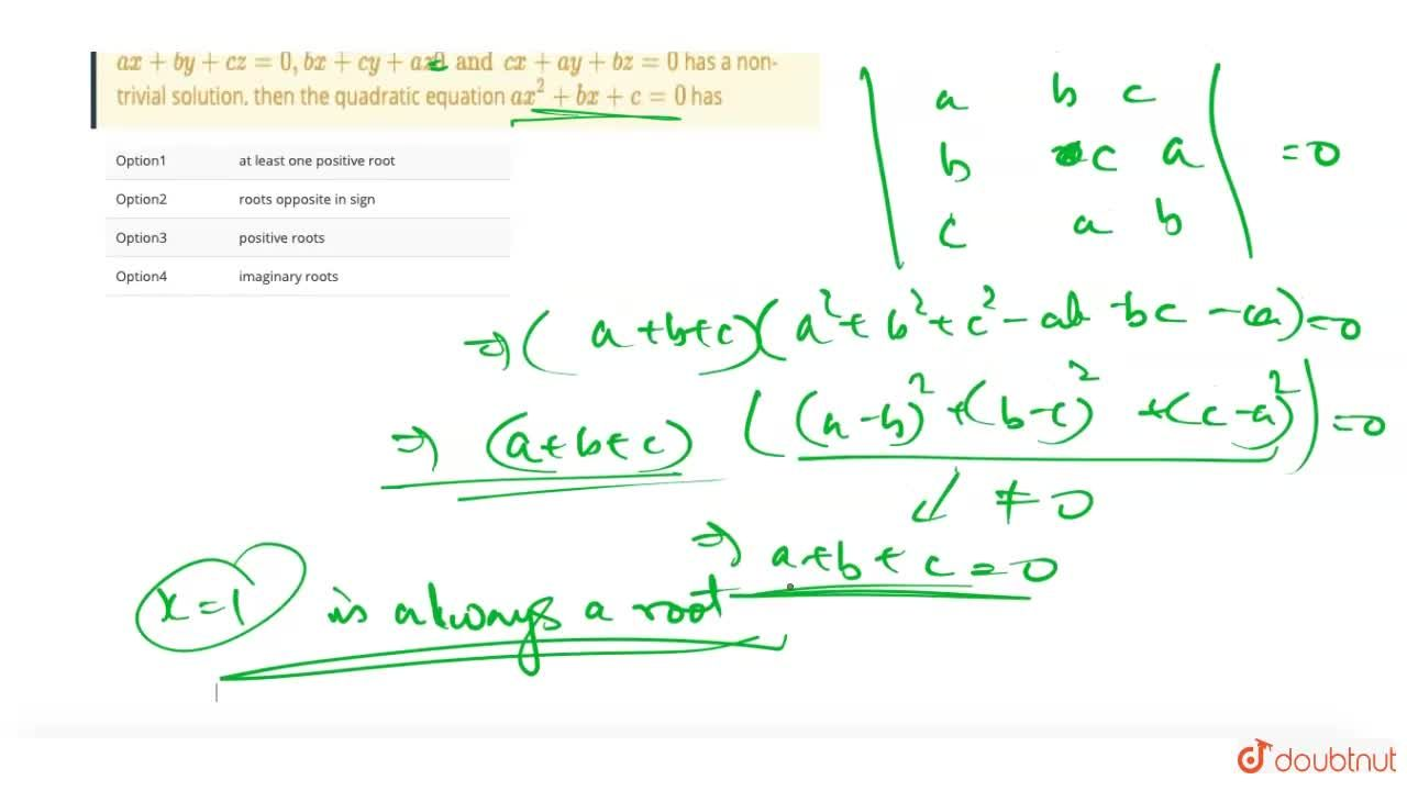 Solution for if a gt b gt c and the system of equations ax +