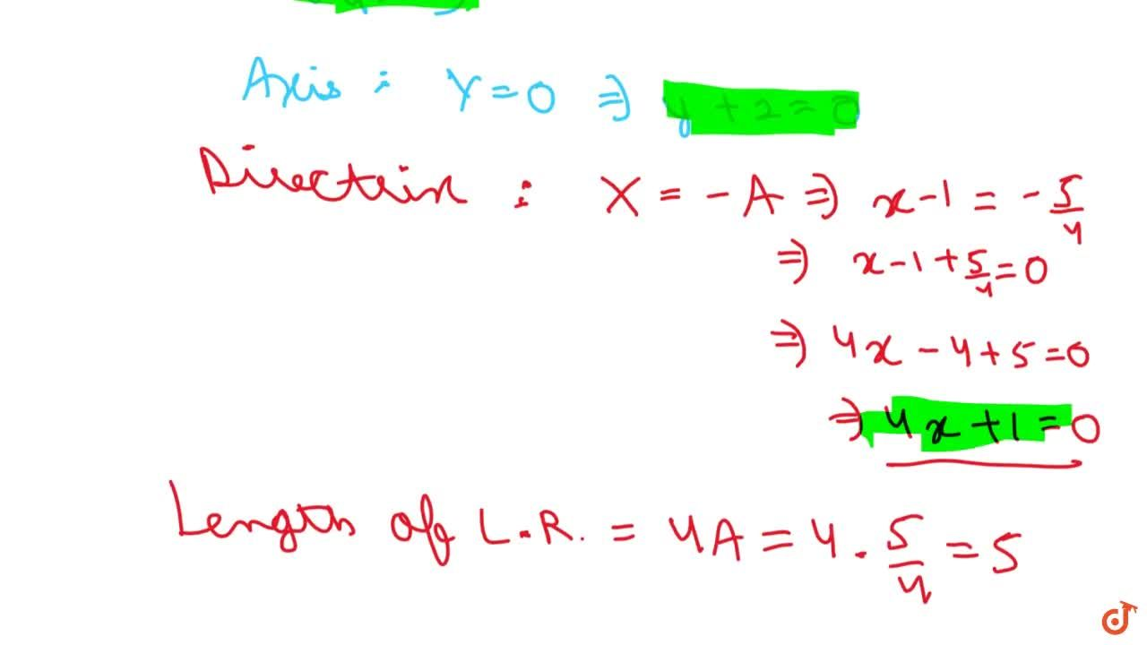 Solution for Find the vertex , focus, axis, directrix and latus