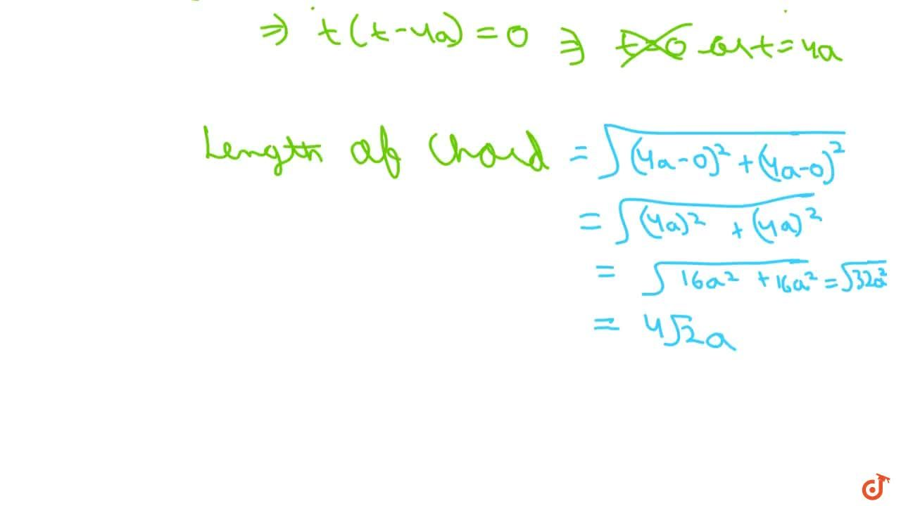 Solution for Write the length of the chord of the parabola y^2