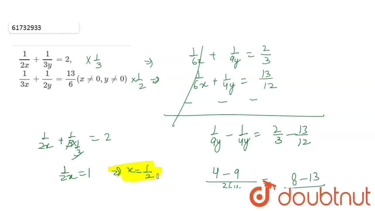 Solution for   ( 1 ) ,( 2x )  +  (1 ) ,( 3y )  = 2,   <br>
