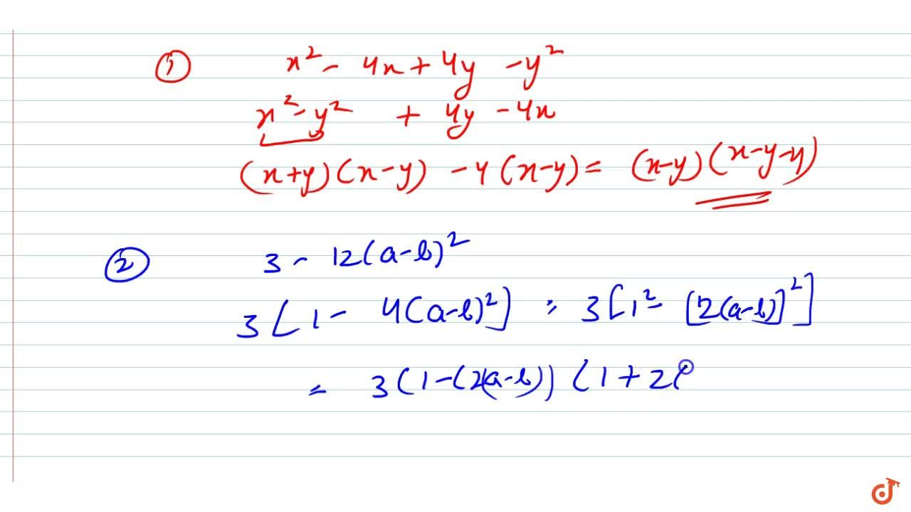 Solution for Factorize each of the following algebraic   expre