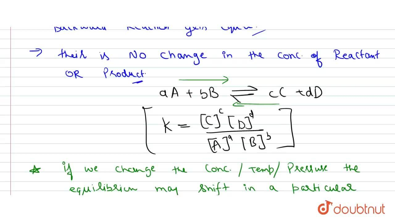 Solution for What is chamical equilibrium ? Write the character