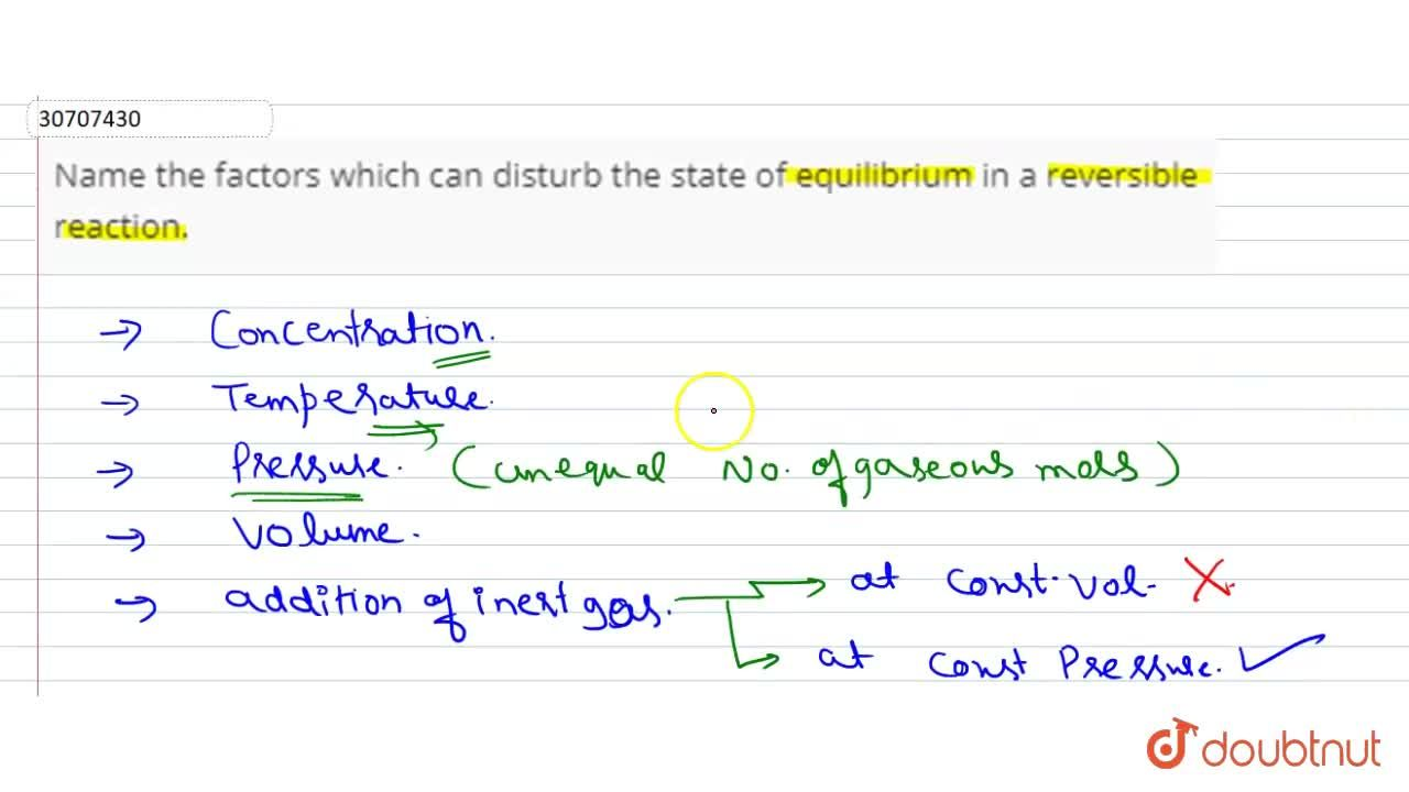Solution for Name the factors which can disturb the state of eq