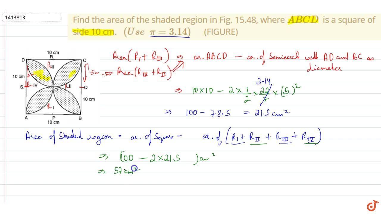 Solution for Find the area of the shaded region in Fig.   15.4