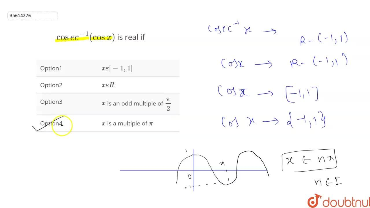 Solution for cosec^(-1)(cos x) is real if