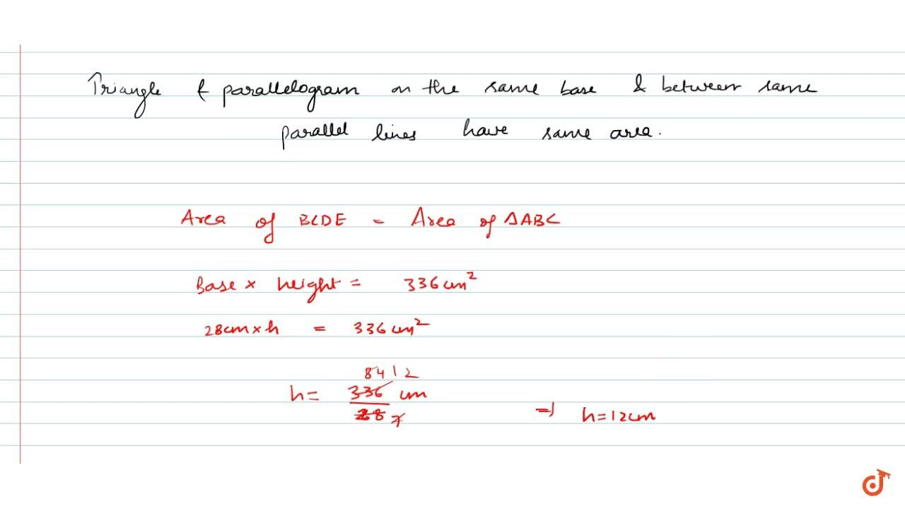 Solution for A triangle and a   parallelogram have the same ba