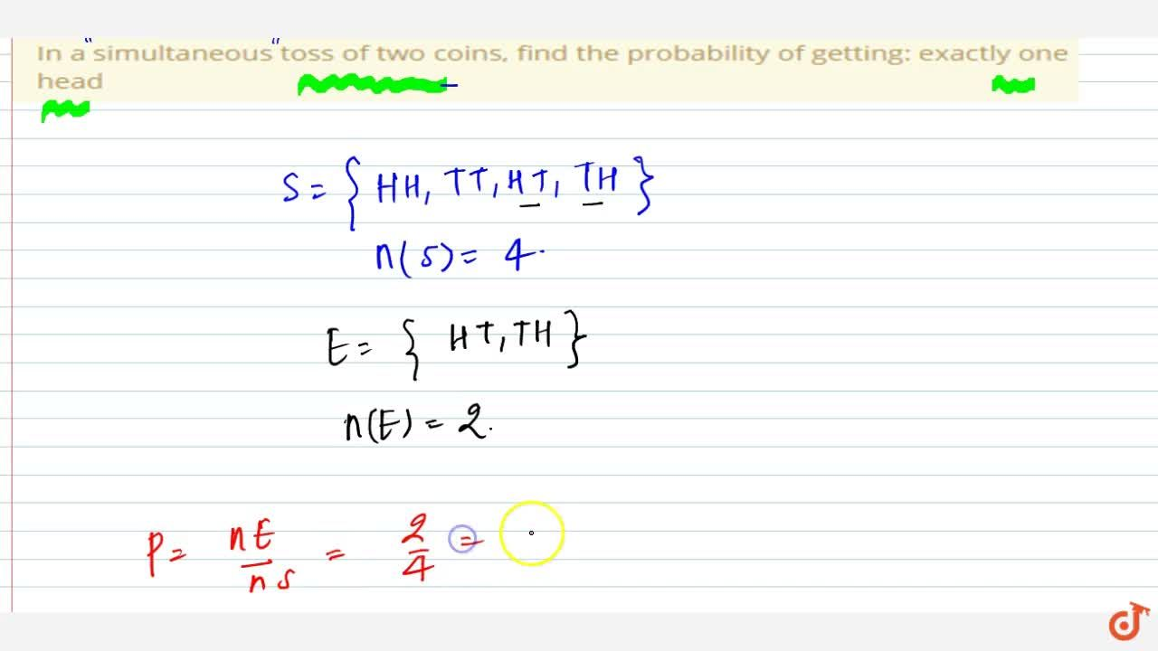 In a simultaneous toss of two coins, find the   probability of getting: exactly one head